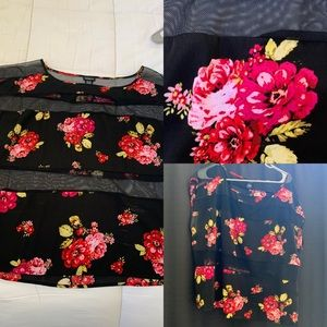 Black Floral and Sheer Top